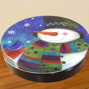 "10"" Pecan Pie in Top Hat Snowman Tin"