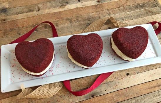 Heart-Shaped Red Velvet Whoopie Pies