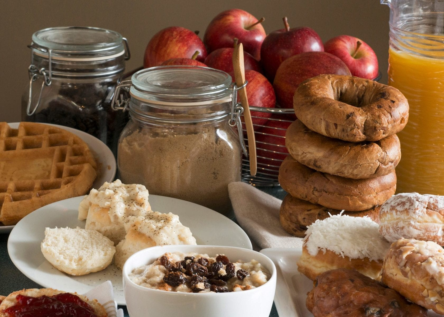 Breakfast spread at Travelers Rest Motel in Bird-in-Hand