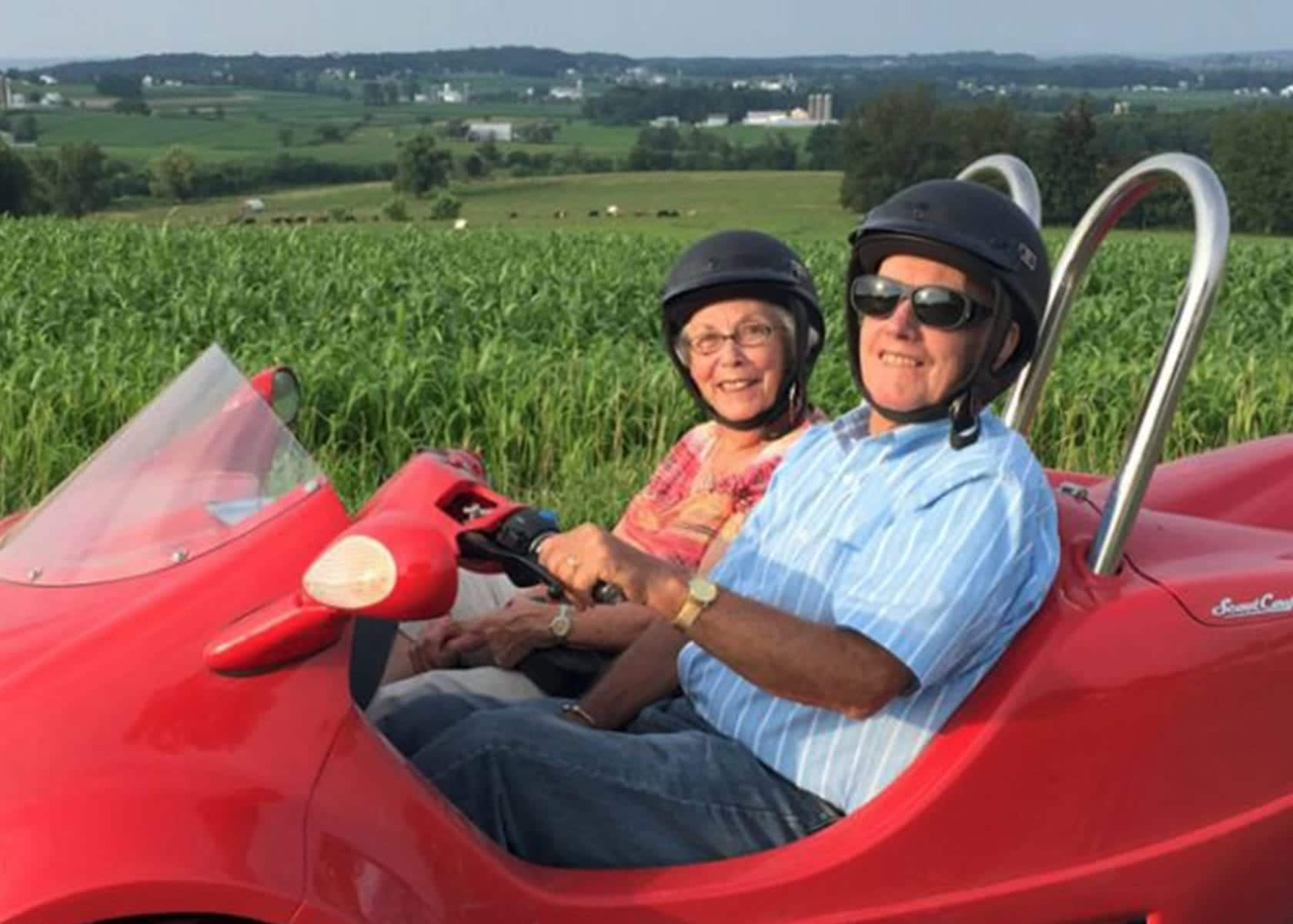 Couple on scooter tour in lancaster pa