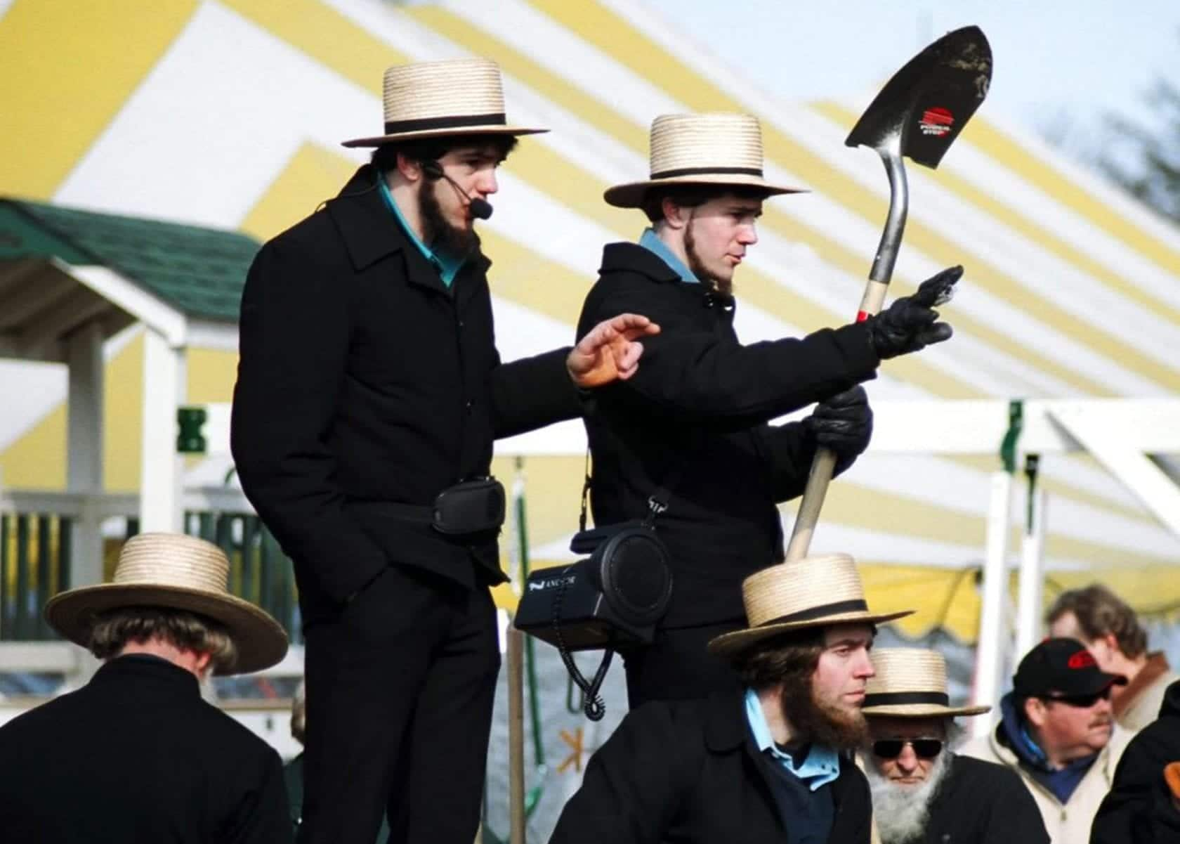 Two Amish men at a Mud Sale in Lancaster County