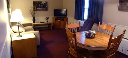 Cozy living area at Amish County Motel