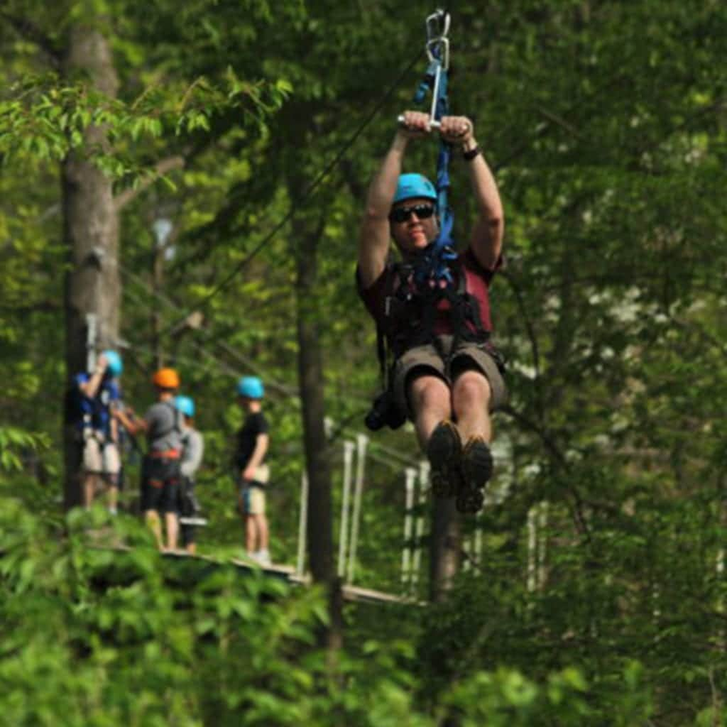 Outdoor Zip-lining at Refreshing Mountain Adventure and Retreat Center
