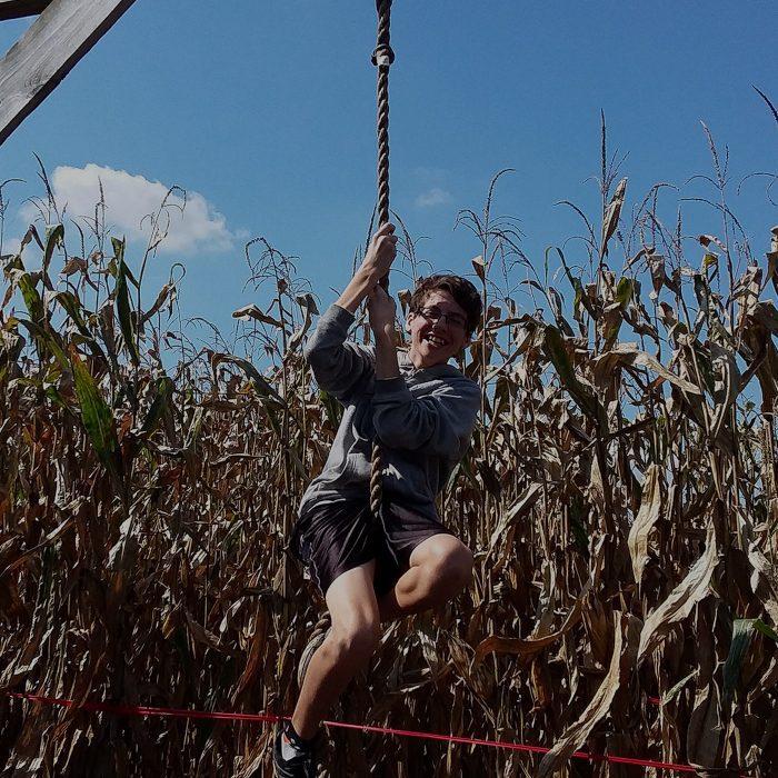 Cherry Crest Adventure Farms - Rope swing in the corn maze